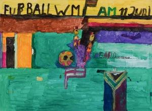 FUßBALL WM Acryl auf Karton 62 x 84 cm