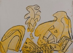 BAUSTELLE Filzstift, Tusche, Acryl auf Papier 40 x 70 cm