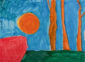 DREI BÄUME, SONNE UND MAUER Acrylfarbe auf Karton 44 x 68 cm