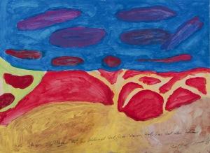 ROTER REGEN, DIE BÄUME ROT, DER HIMMEL ROT Acrylfarbe und Bleistift auf Karton 44 x 71 cm