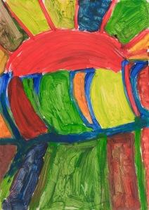 ROTE SONNE Acrylfarbe auf Karton 45 x 90 cm