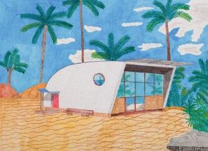 MUSTERHAUS Acrylfarbe und Buntstifte auf Papier 31 x 42 cm