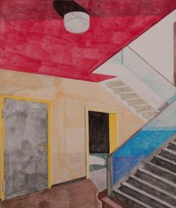 WOHNHAUS Acrylfarbe und Buntstifte auf Papier 37 x 31 cm