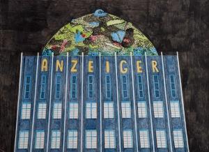 ANZEIGER Acrylfarbe und Buntstifte auf Papier 37 x 44 cm