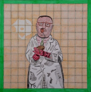 FROSCHTEST Acrylfarben und Bleistift auf Papier 25,5 x 25,5 cm
