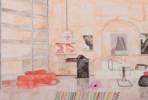 ZIMMER Acrylfarbe und Bleistift auf Karton 42 x 62 cm