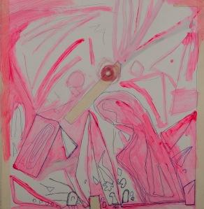 DER KEIL Kugelschreiber, Klebeband, Acryl auf Karton 70 x 70 cm