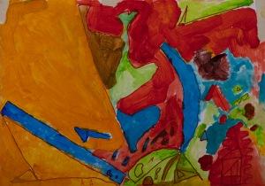 HAUS VOR GROßEM HÜGEL Acryl auf Karton 49,5 x 70 cm