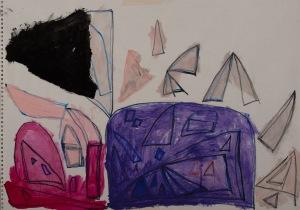 ZELTE Filzstift, Acryl auf Papier 42 x 60 cm