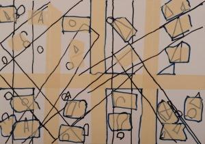 oT Filzstift, Klebeband auf Papier 42 x 60 cm