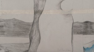 BAUM UND MOND Bleistift auf Papier 35 x 60 cm