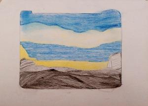EIN TAG AM MEER Buntstift, Bleistift auf Papier 35 x 50 cm
