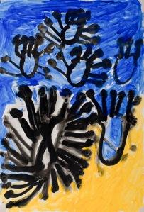 SCHWARZE BLUMEN Tusche auf Karton 42 x 62 cm