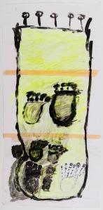 VASE Acryl, Filzstift, Klebeband auf Papier 42 x 86 cm