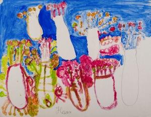 HÄUSER & WOLKE Acryl auf Karton 40 x 85 cm