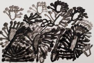 SCHWARZE BLUMEN Acryl auf Papier 62 x 42 cm