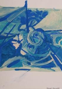 DIE ÜBERFAHRT Acryl auf Papier 30 x 42 cm