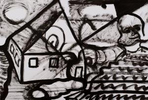 HAUS / NACHT Tusche auf Papier 44 x 64 cm
