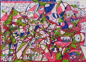DAS PARADIES KOMMT IRGENDWANN Filzstifte, Acryl auf Papier 50 x 70 cm