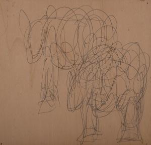 SCHAFE Bleistift auf Sperrholz 27 x 28 cm